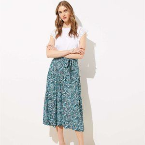 Wildflower Tie Waist Midi Skirt-LOFT